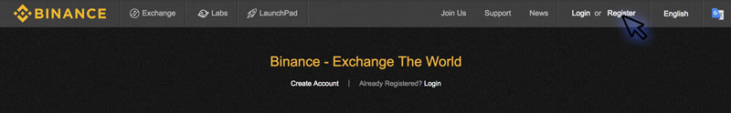 Registrace na Binance