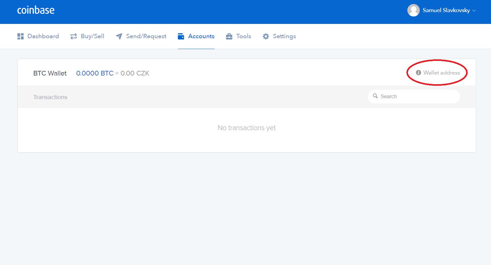 coinbase adresa wallet