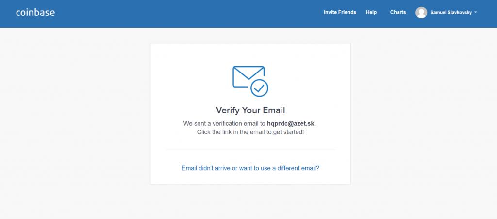 coinbase verifikace email