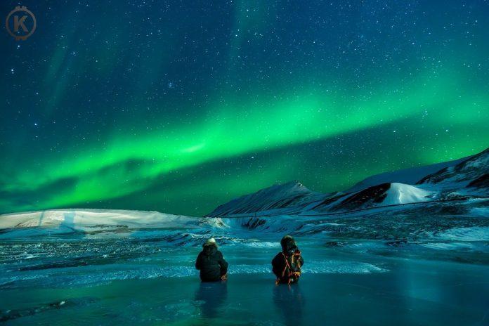 led, polární záře, obloha