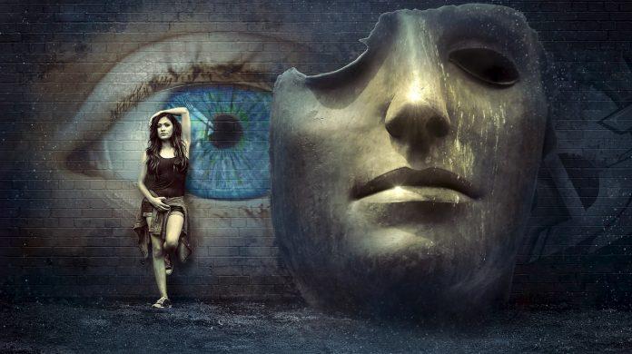 bolest a masky, oko