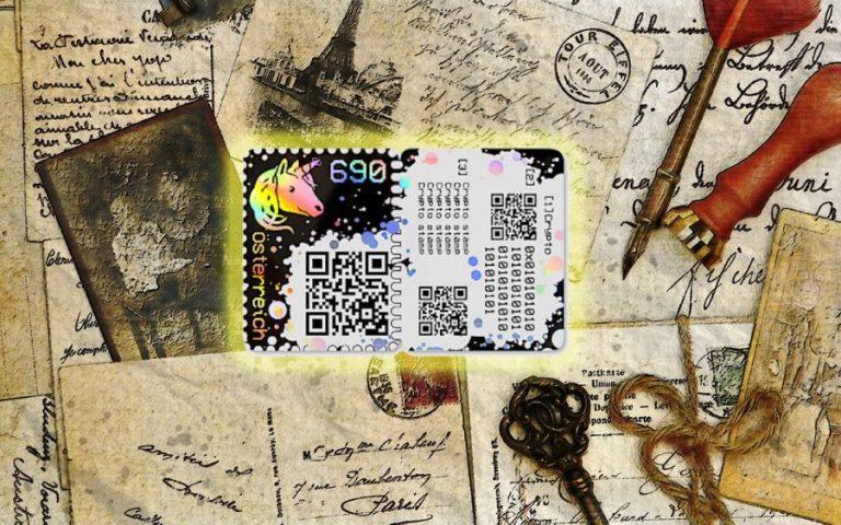 Rakouské poštovní známky obsahující kryptoměnu ETH začínají být nesmírně cenné!