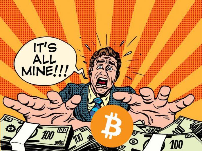 Bitcoin, kreslený, peníze, wright, its all mine