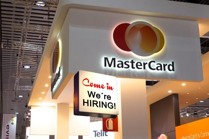 mastercard, karta, zaměstnání, přijímáme, zaměstnance, blockchain, peněženky, cedule