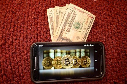 Bitcoin, mobil, peníze
