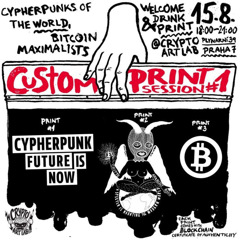 [TIP] Pražský umělec zítra tiskne na trička jeho krypto motivy – zdarma!