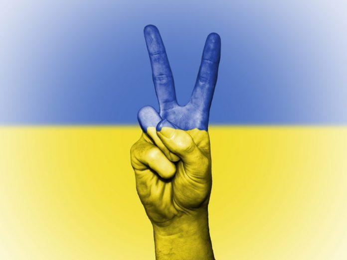 vlajka, Ukrajina, ruka