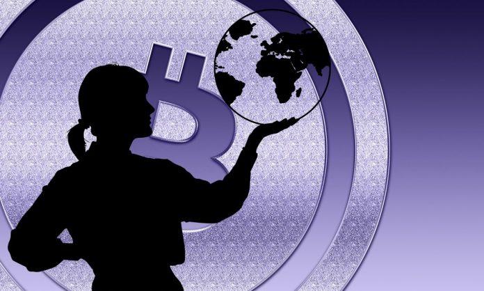 silueta, bitcoin, zeměkoule