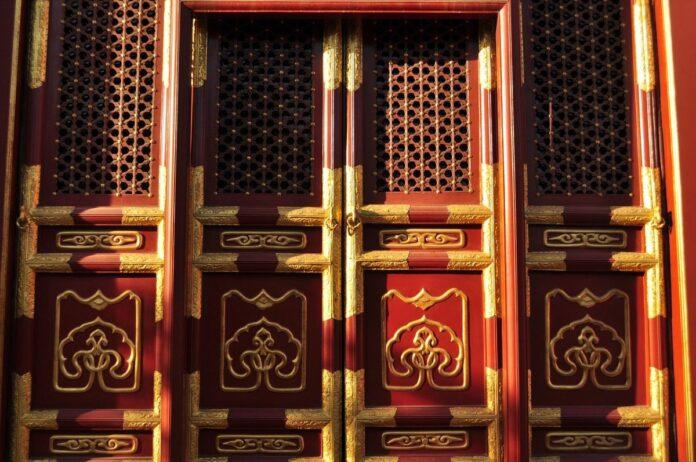 dveře, čína, digitální, měna, dolar