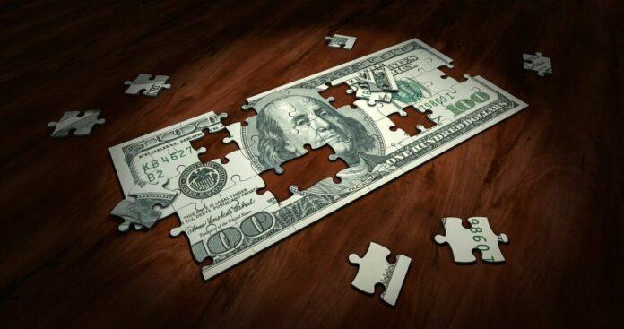 bankovka, dolar, puzzle