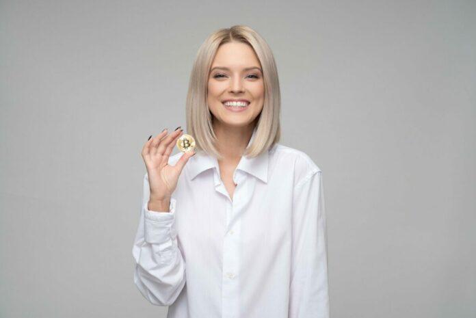 žena, bitcoin