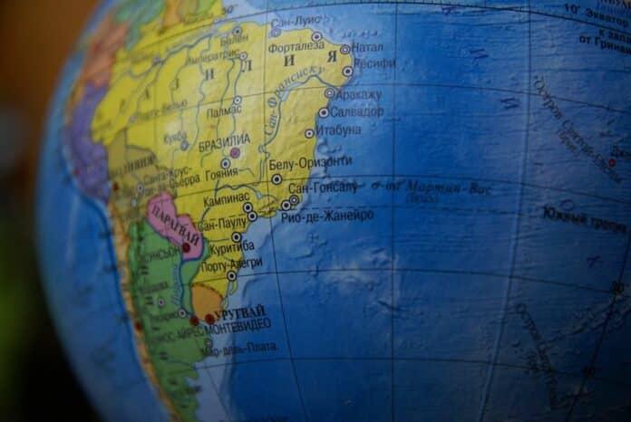 globus, jižní amerika, latinská, brazílie