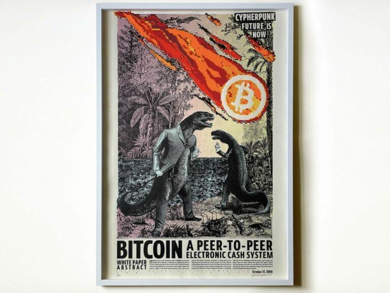 Plakát pražského krypto umělce se vyšplhal na 220 000 korun, do konce aukce zbývá hodina